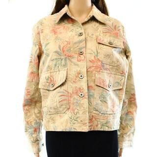 Lauren Ralph Lauren NEW Beige Women's Size Medium M Floral Jean Jacket