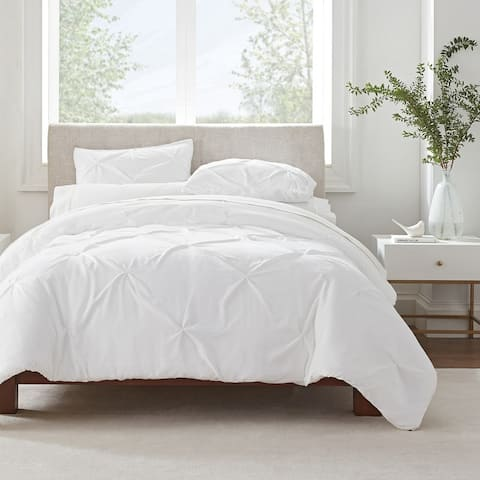 Serta Simply Clean Antimicrobial Pleated 3 Piece Duvet Set