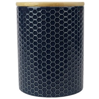 Link to Honeycomb Medium Ceramic Canister, Navy Similar Items in Kitchen Storage