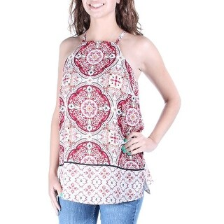 Womens Ivory Floral Sleeveless Boat Neck Casual Top Size 10