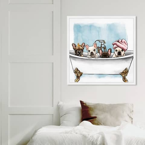 Oliver Gal 'Frenchies In The Tub' Animals Framed Wall Art Prints Dogs and Puppies - White, Blue