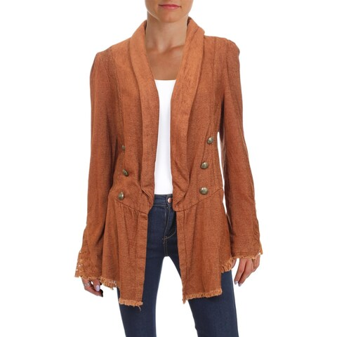 Free People Womens Blazer Bell Sleeves Open Front - l