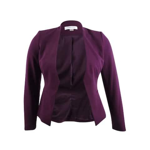 Calvin Klein Women's Plus Size Asymmetrical Jacket - Aubergine