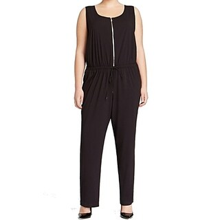 Karen Kane NEW Black Women's Size 2X Plus Front-Zipped Jumpsuit
