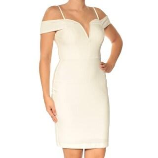 Womans Beige Cold Shoulder Spaghetti Strap Mini Sheath Dress Size: 5