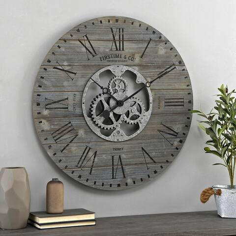 FirsTime & Co. Shiplap Farmhouse Gears Wall Clock