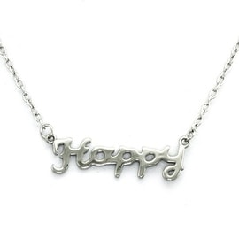 Stainless Steel Inspirational - HAPPY - Necklace - 16 inches