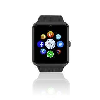 Indigi® (Black) GT8 Unlocked 2-in-1 SmartWatch & Phone - Bluetooth Sync w/ Pedometer + Built-in Camera + SIM Slot - Black