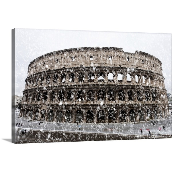 """Snowy Colosseum, Rome, Italy"" Canvas Wall Art"