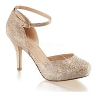 Fabulicious Women's Covet 03 Ankle Strap Pump Nude Glitter Mesh Fabric
