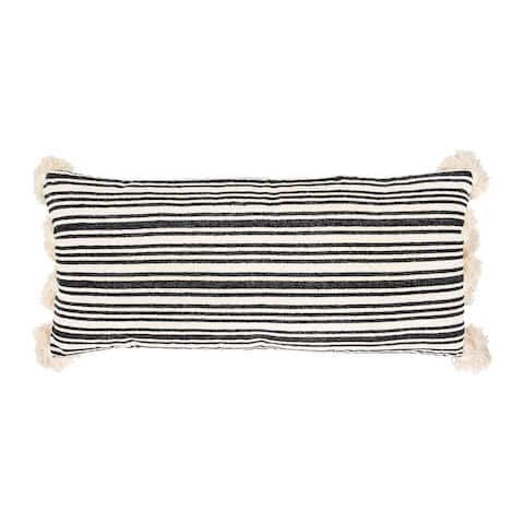 White Cotton & Chenille Woven Lumbar Pillow with Raised Black Stripes & Thick Tassels
