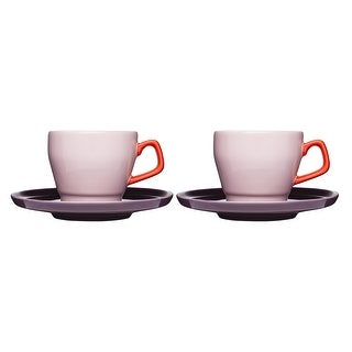 Sagaform POP Stoneware 8.5 oz. Coffee Cup and Saucer, Pink Red and Plum, Set of 2