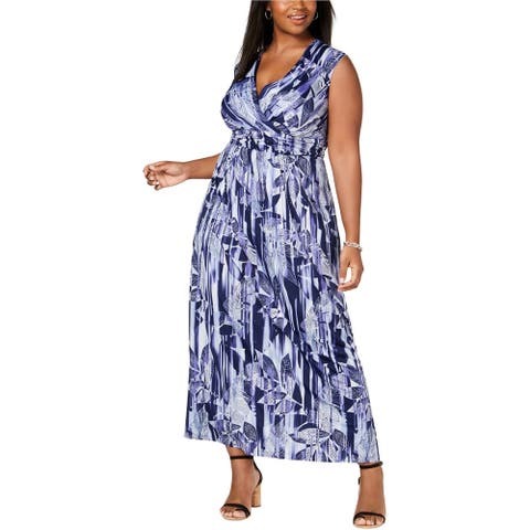 NY Collection Womens Leaf Maxi Dress, Blue, 3X