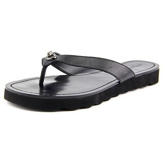 Coach Shelly Semi Matte Calf Women  Open Toe Leather Black Flip Flop Sandal