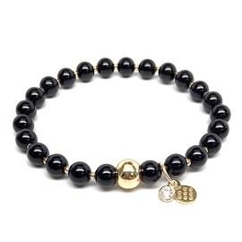 Black Onyx 'Lily' Stretch Bracelet, 14k over Sterling Silver