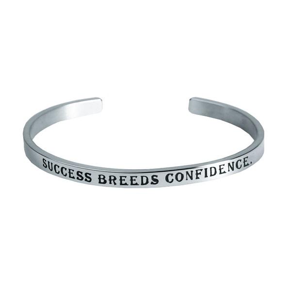 Women's Famous Women's Quotes Cuff Bracelet - Breeds Confidence - Beryl Markham - Silver