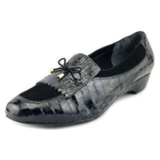 Ros Hommerson Teresa Women W Moc Toe Leather Black Flats