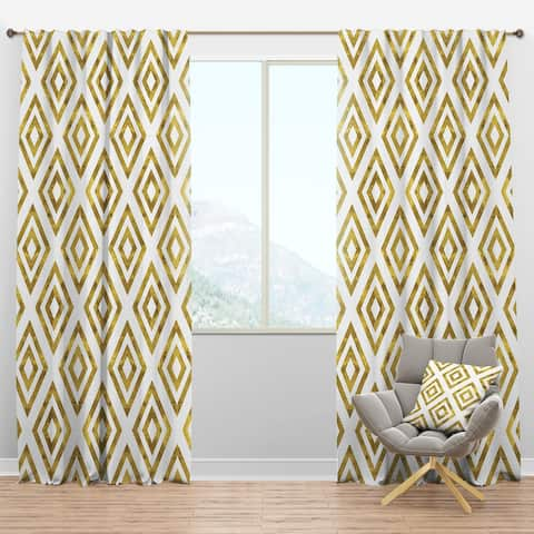 Designart 'White and Gold Pattern' Modern Blackout Curtain Panel