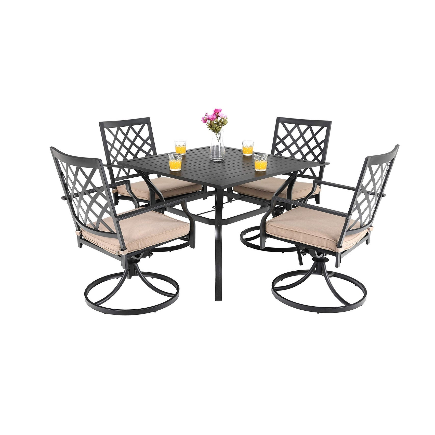 Viewmont 5 Piece Outdoor Dining Set With Large Table And 4 Swivel Chairs By Havenside Home Overstock 29156340