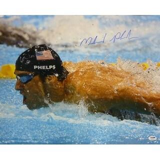 Michael Phelps Autographed 2008 Beijing Olympics 16x20 Photo w/PSA