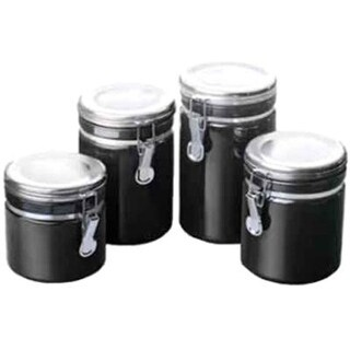 Anchor Home Collection 4-Piece Ceramic Canister Set With Clamp Top Lid, Black