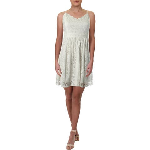 Aqua Womens Party Dress Lace Night Out - Off White