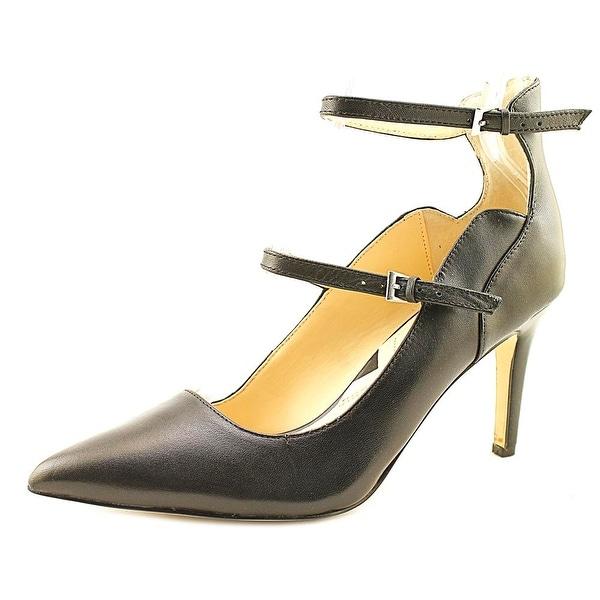 Adrienne Vittadini Nettie Women Round Toe Leather Black Heels