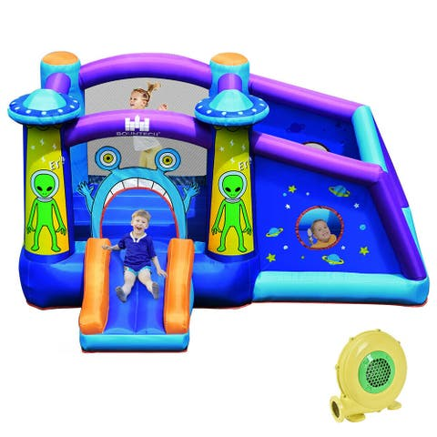Gymax Inflatable Bouncer Alien Bounce HouseKids Jump Slide Ball Pit w/ - 11 ft x 8.5 ft x 6 ft (L x W x H)
