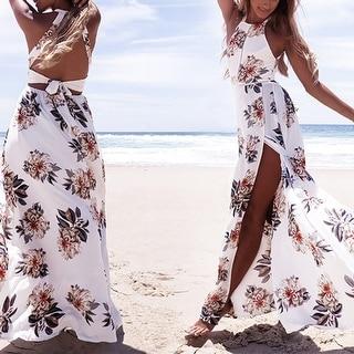 Floral Print Halter Chiffon Long Dress Women Backless 2017 Maxi Dresses Vestidos Sexy White Split Beach Summer Dress
