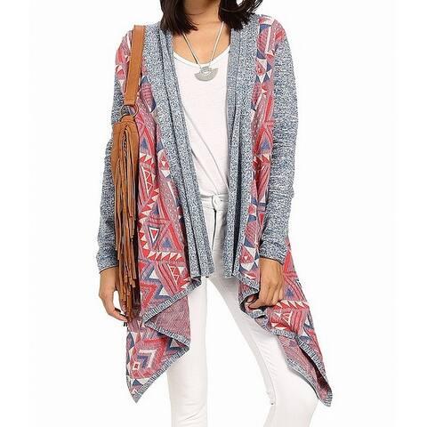 Lucky Brand Blue Pink Womens Size XS Geo-Print Cardigan Sweater