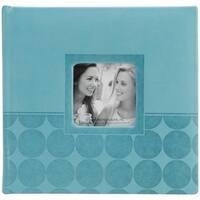 Embossed 2-Up Photo Album 4 in. X6 in. 200 Pockets-Aqua Circles