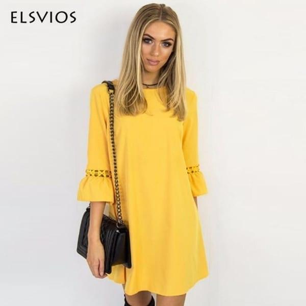 8a99c845e65e5 Shop Elsvios Women Summer Dress Spring Flare Three Quarter Sleeve ...
