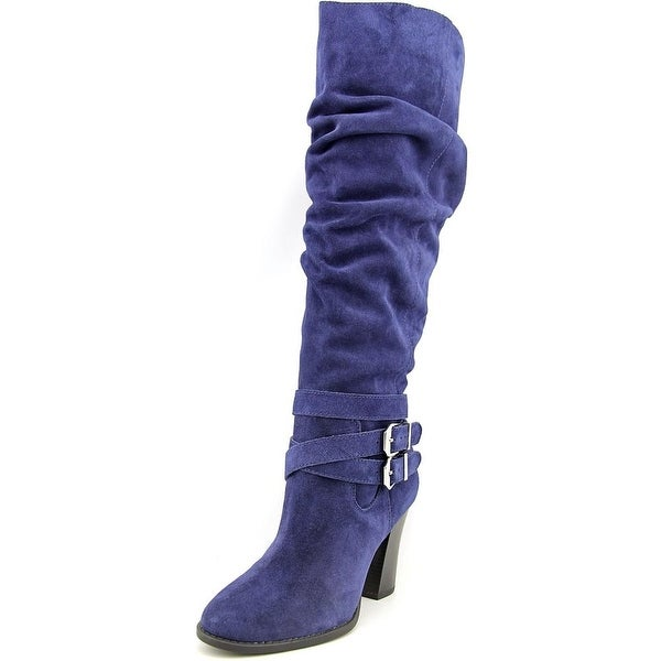 INC International Concepts Jordana Wide Calf Women Suede Blue Knee High Boot