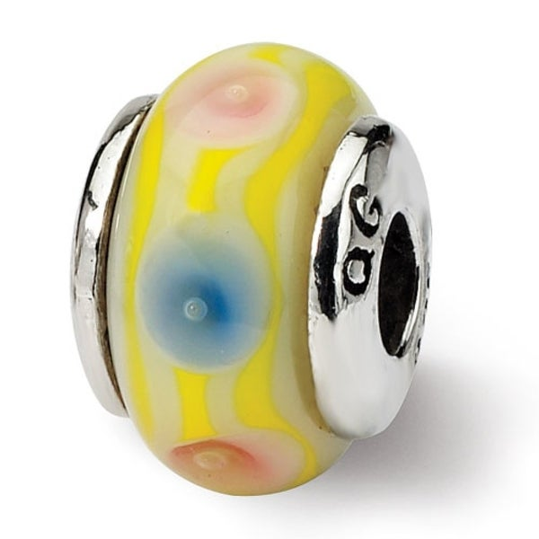 Sterling Silver Reflections Kids Yellow Hand-blown Glass Bead (4mm Diameter Hole)