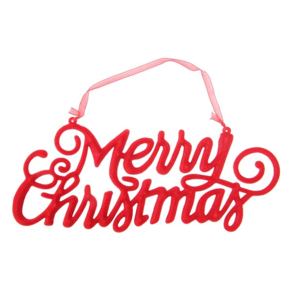 """9.5"""" Red Velvet """"Merry Christmas"""" Holiday Hanging Sign Decoration"""