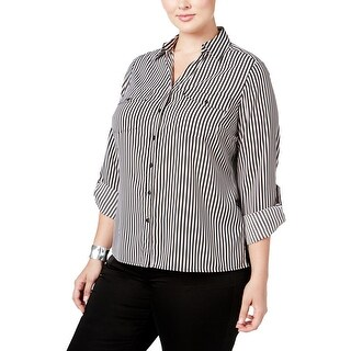 NY Collection Womens Plus Button-Down Top Striped Long Sleeves
