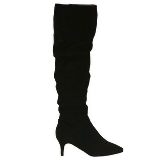 Unilady Adult Black Pointy Toe Ruched Low Heeled Tall Boots