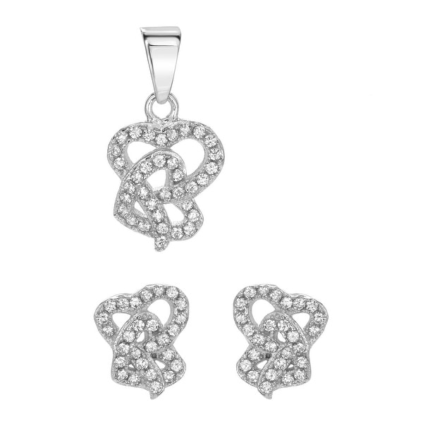Mcs Jewelry Inc STERLING SILVER 925 CUBIC ZIRCONIA INTERTWINED HEART EARRING AND PENDANT SET