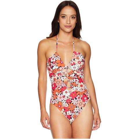 MICHAEL Michael Kors Womens Keyhole Halter One-Piece Swimsuit 14 Deep Rose