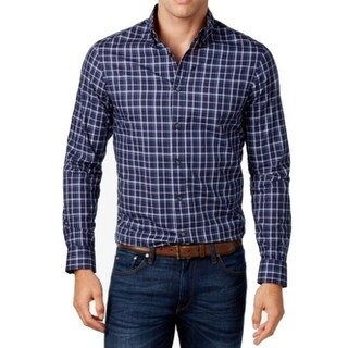 Michael Kors NEW Navy Blue White Mens Size XL Plaid Button Down Shirt