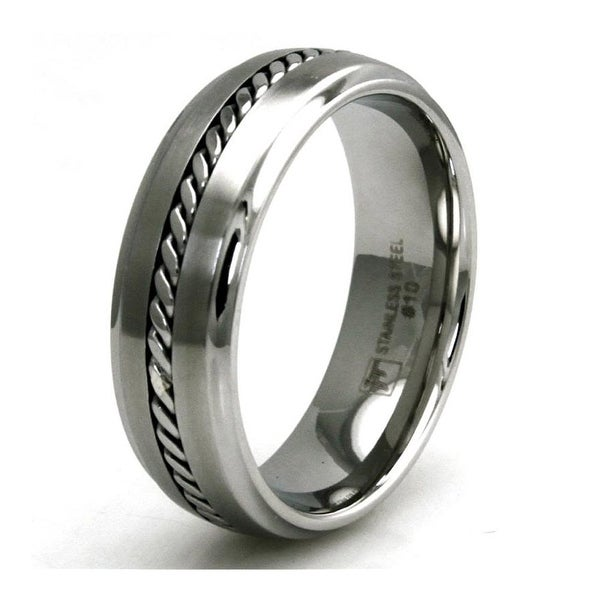 7mm Stainless Steel Satin/Polish Finish Curb Chain Inlay Design Ring