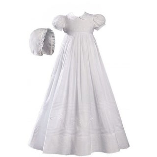Baby Girls White Cotton Embroidered Short Sleeve Hat Christening Gown