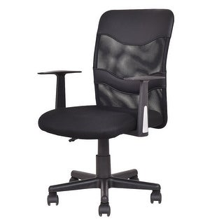 Costway Modern Mesh Mid-Back Executive Computer Desk Task Office Chair Ergonomic Black