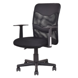 Genial Costway Modern Mesh Mid Back Executive Computer Desk Task Office Chair  Ergonomic Black