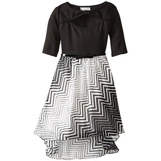 Rare Editions Girls Striped Chiffon Special Occasion Dress