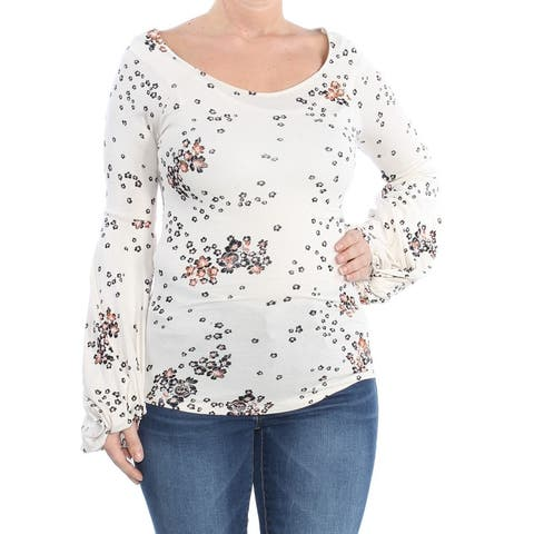 FREE PEOPLE Womens Ivory Printed Long Sleeve Scoop Neck Top Size L