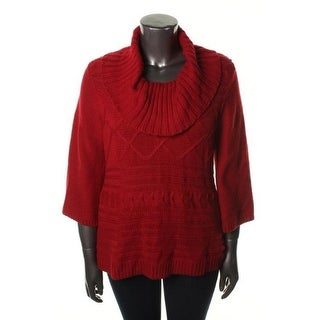 Style&co. Womens Plus Cable Knit Cowl Neck Pullover Sweater - 1X