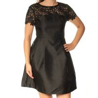 Womens Black Short Sleeve Above The Knee Fit + Flare Casual Dress  Size:  4
