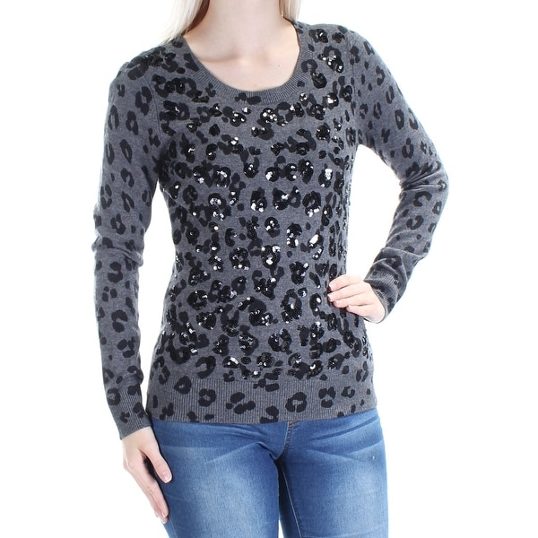 919be656 Shop INC Womens Black Sequined Animal Print Long Sleeve Scoop Neck Sweater  Size: S - Free Shipping On Orders Over $45 - Overstock - 21241774