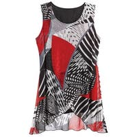 Women's Sleeveless Tunic Top - Red and Black with Metallic Accents Blouse